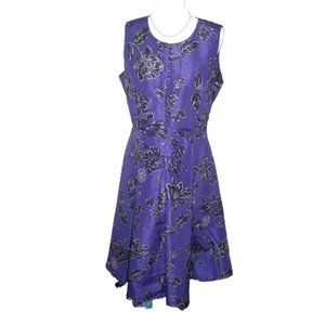 Oscar de la Renta Purple Floral Midi Dress